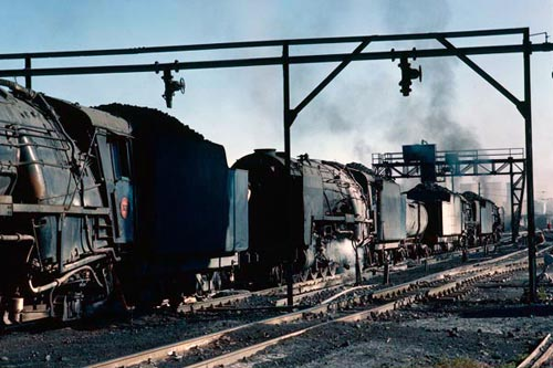 Four 15Fs in a line up on Bloemfontein loco shed. One has a water cart suggesting it is booked to work a remote siding without watering facilities.