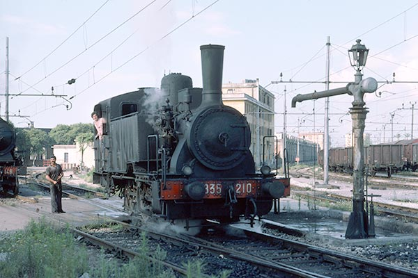 Italian State Railways 0-6-0T 835 210 is seen at Napoli depot