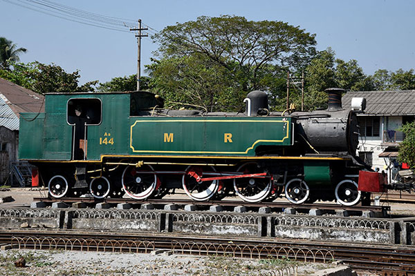 Myanmar Railways metre gauge As class 4-6-4T at Yangon