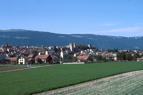 Orbe Chavornay - view of Orbe from train
